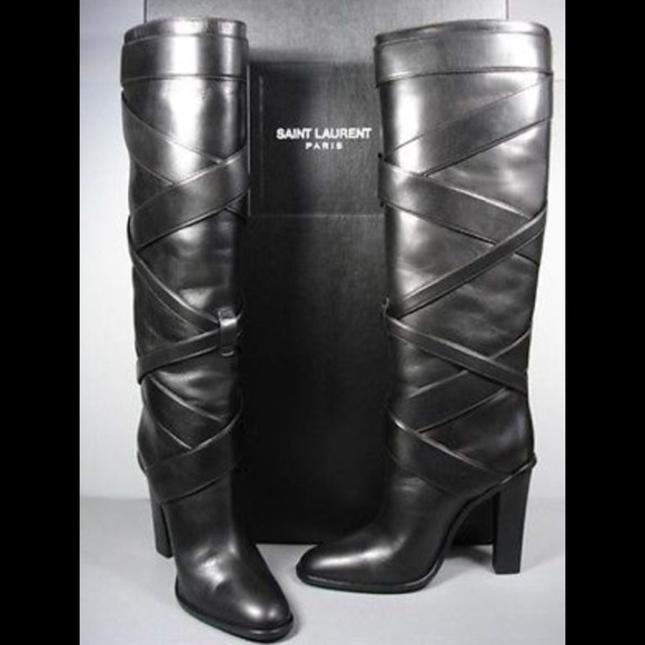 d41a0069 YSL black leather knee high boots w stacked heel